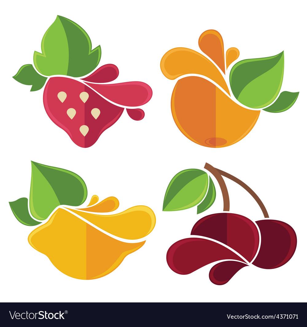 Flat fruits emblems vector