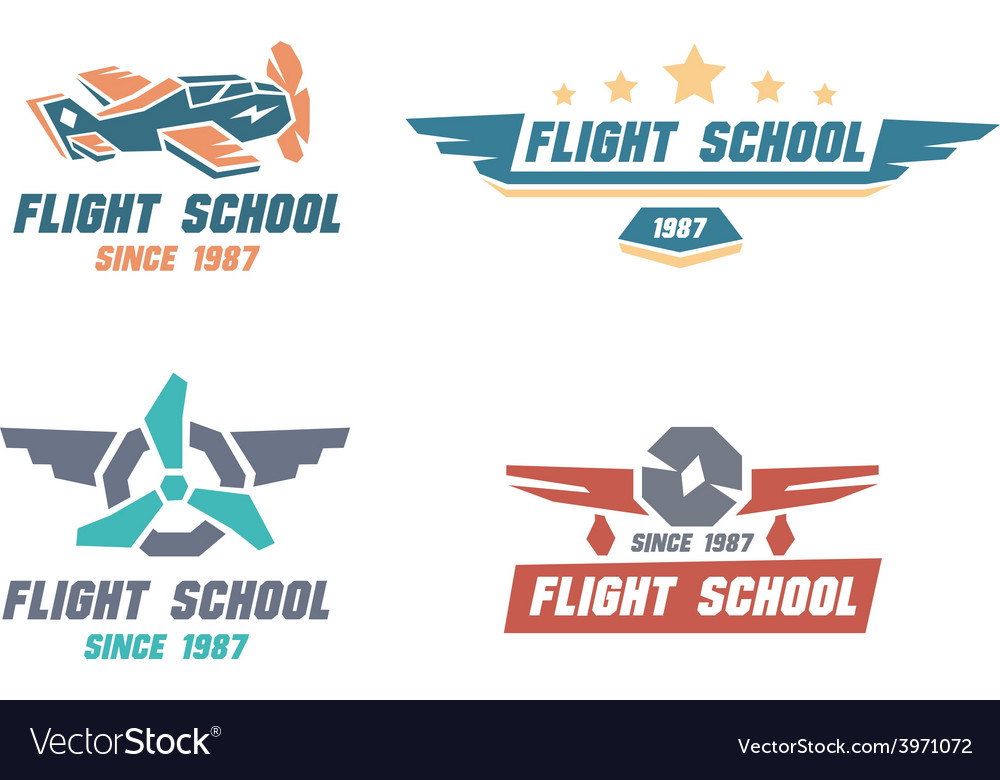 Flight school emblems vector