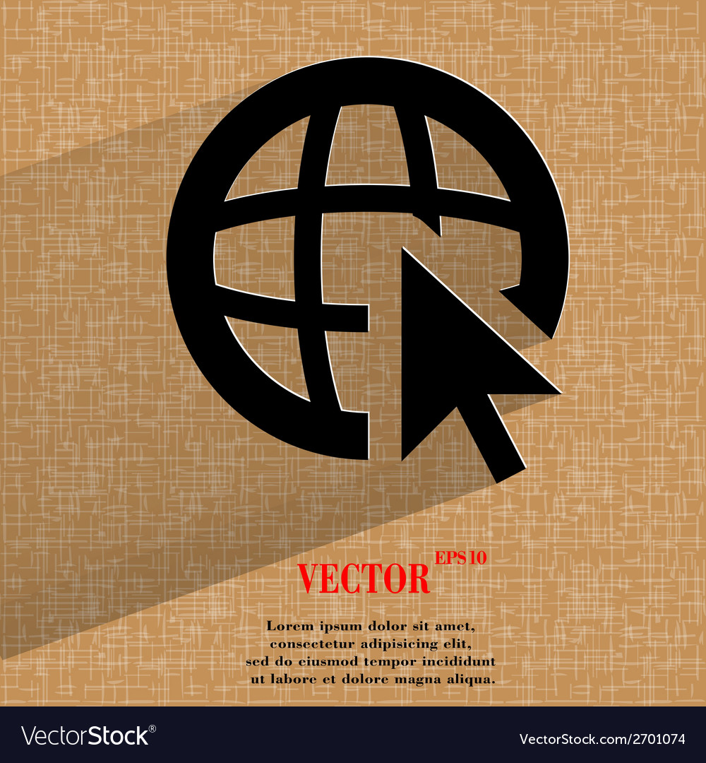 Globe flat modern web design on a flat geometric vector