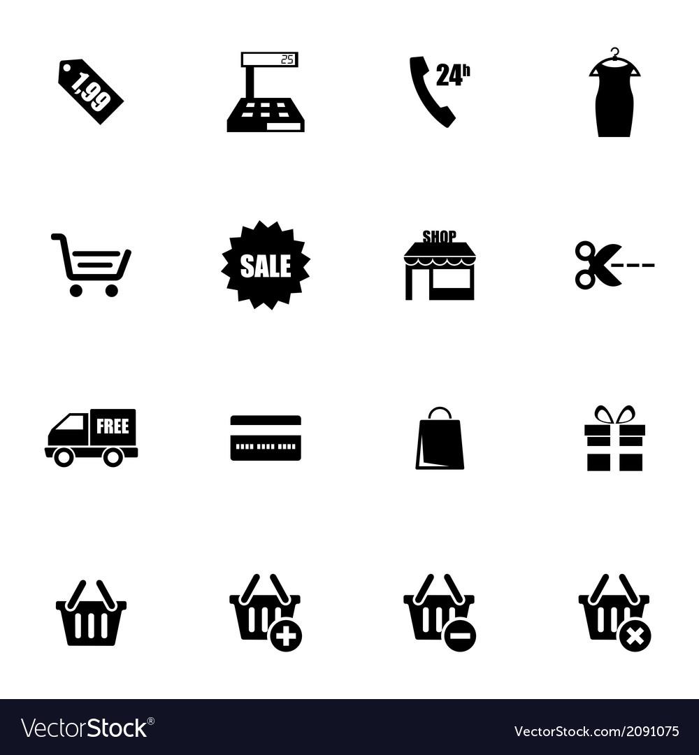 Black shopping icons set vector
