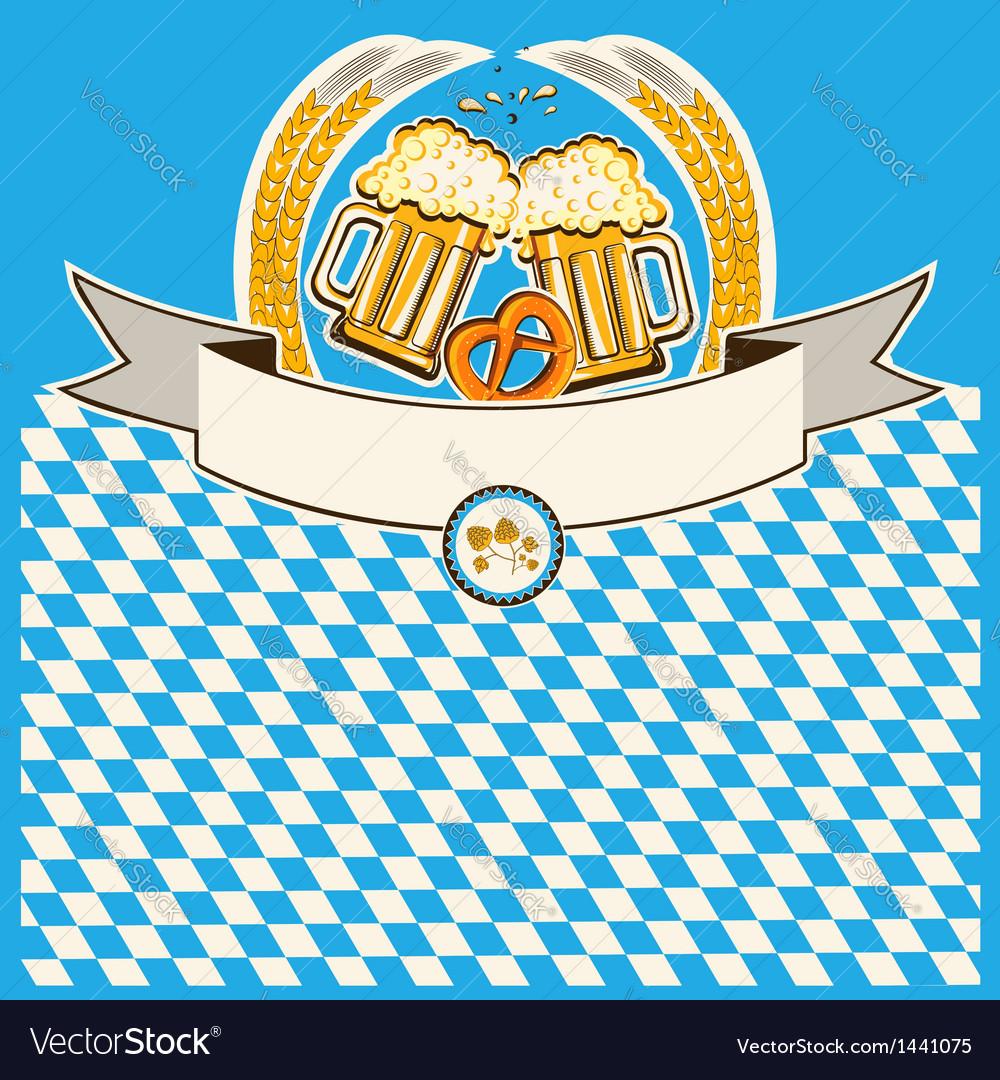 Two glasses of beer on bavaria flag background vector