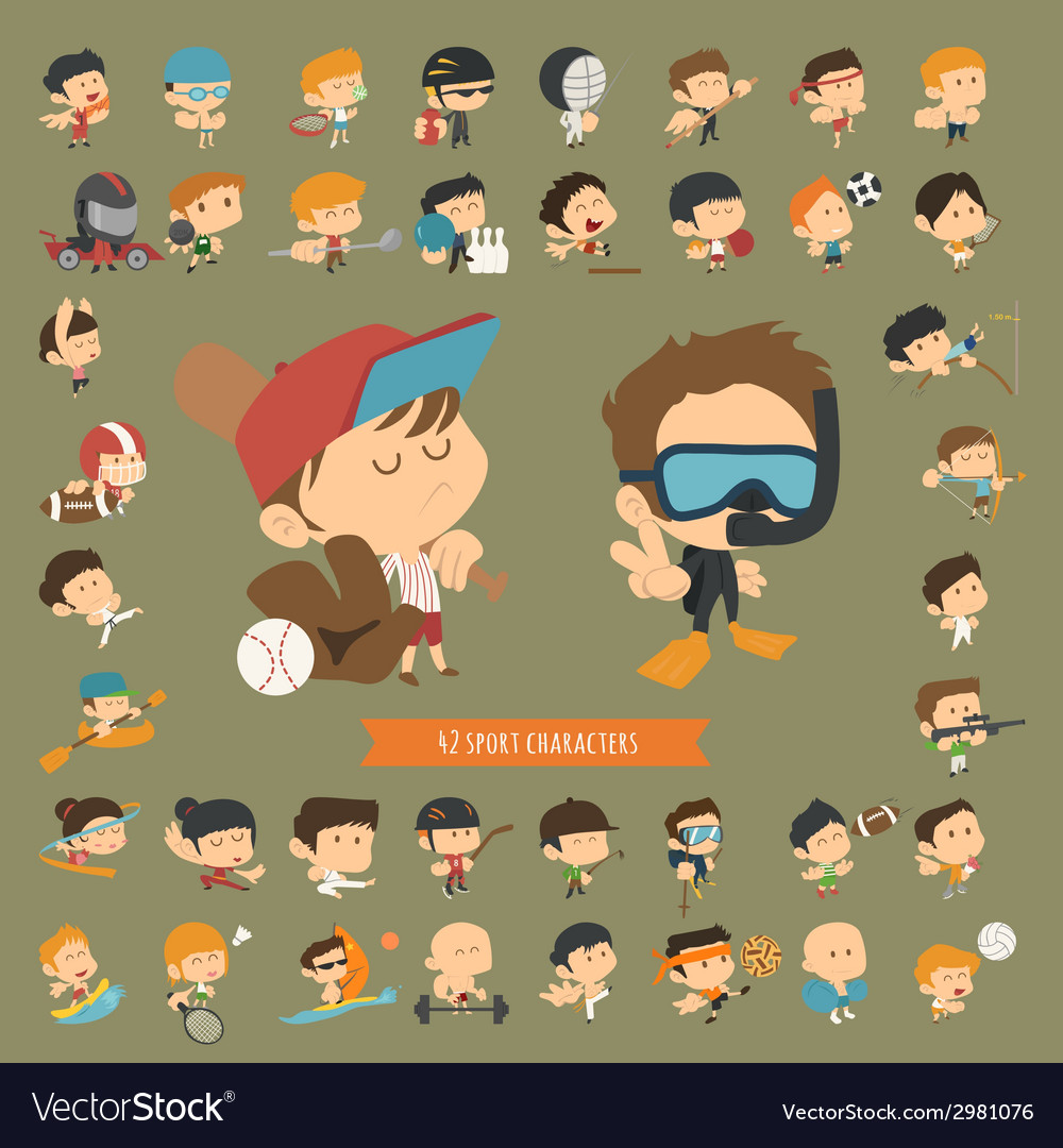 Set of 42 sport characters vector
