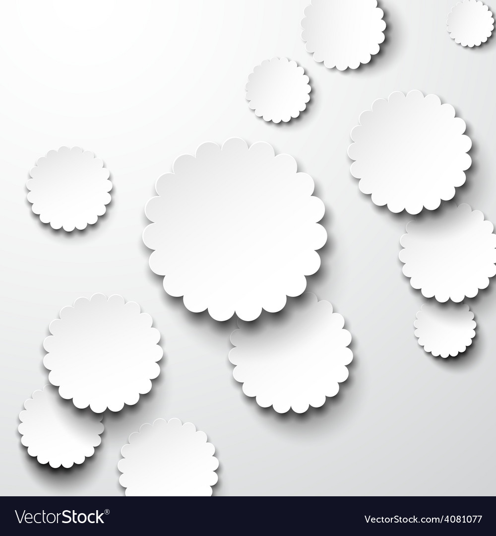 Paper white flower circles vector