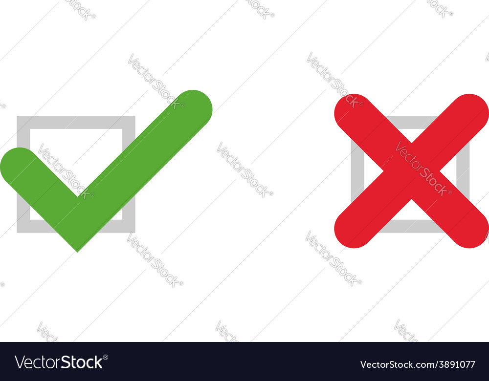 Tick and cross icons vector