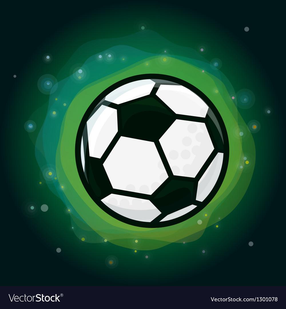Soccer ball on green background vector
