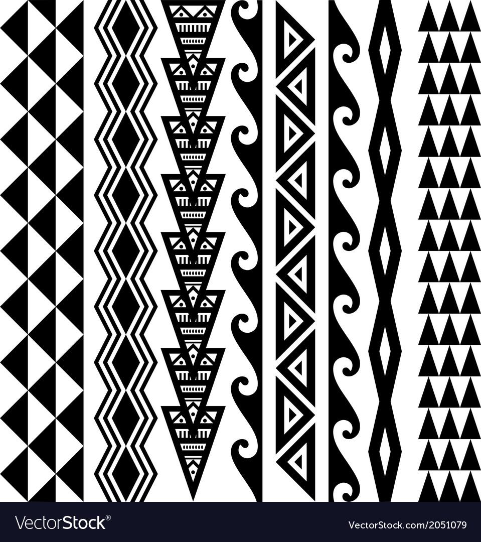 Hawaiian kakau tattoo set vector