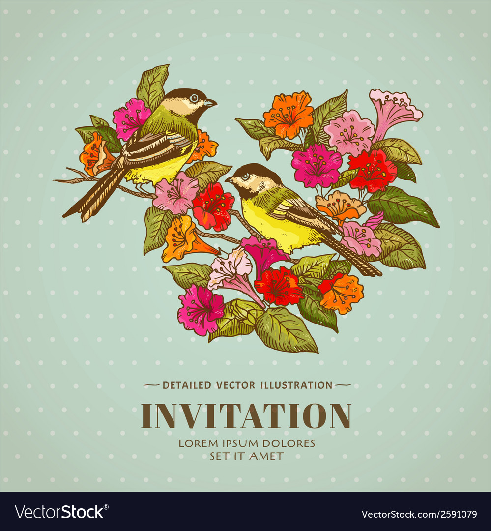 Retro background - flowers and birds vector