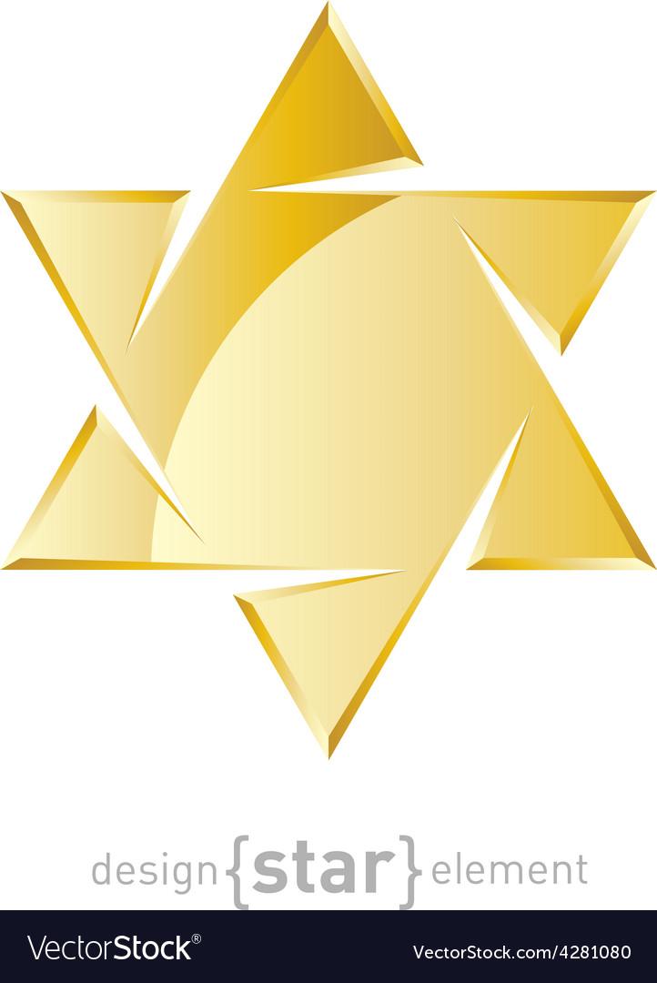 Jewelery golden star on white background vector