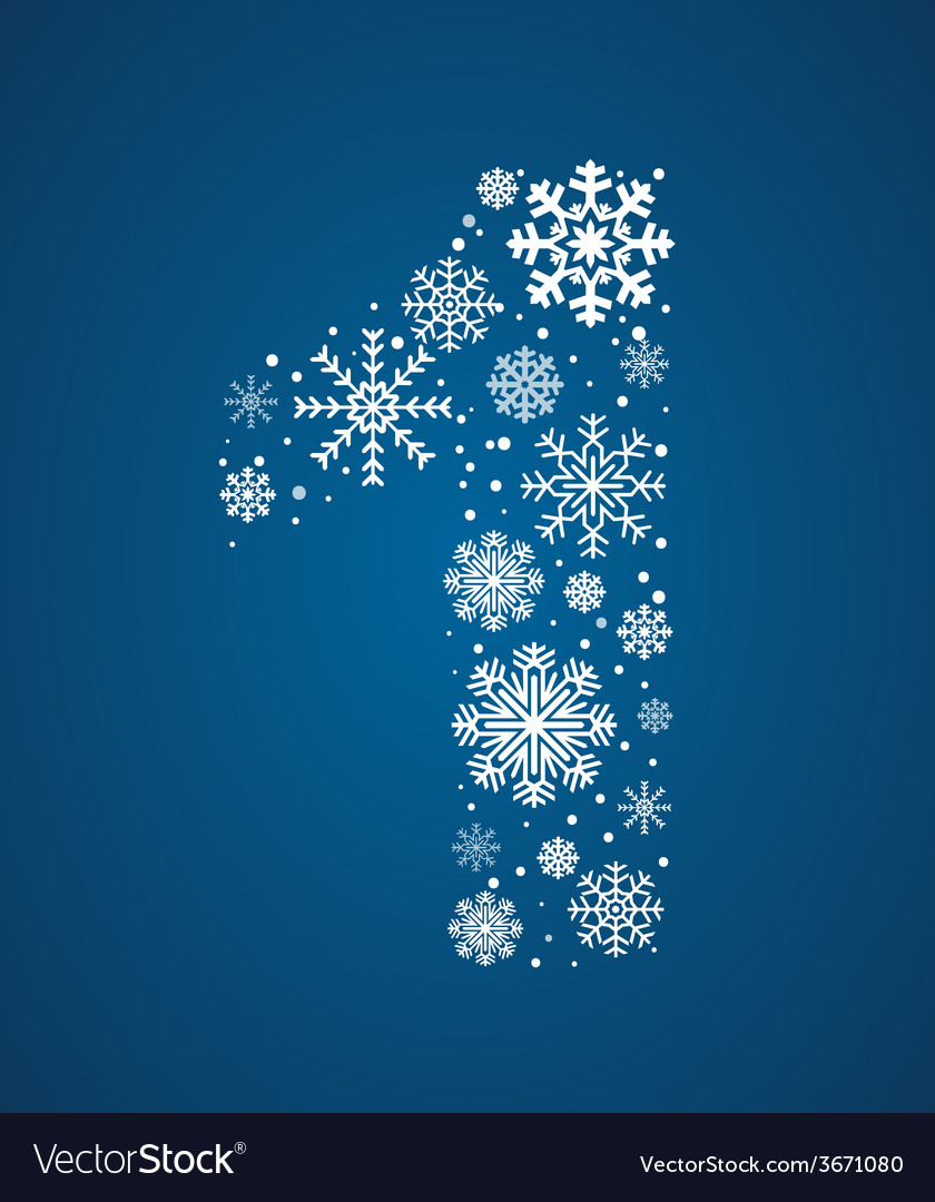 Number 1 font frosty snowflakes vector