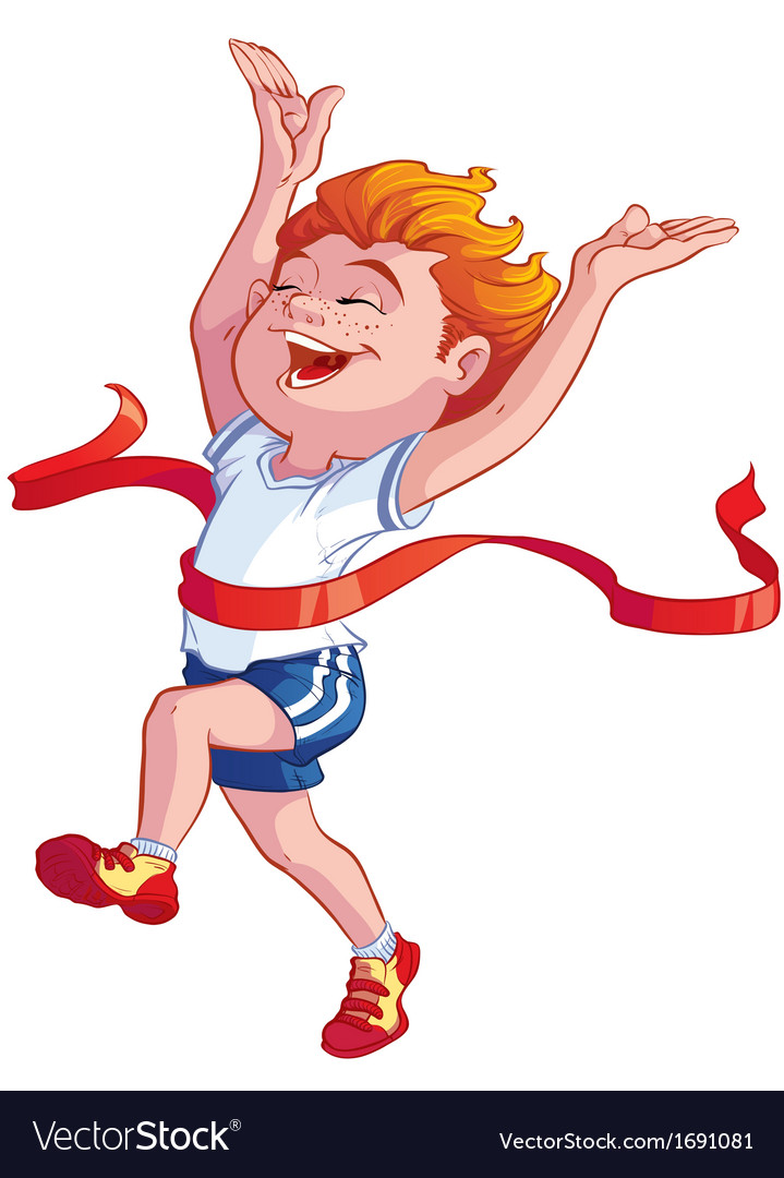 Boy at the finish vector