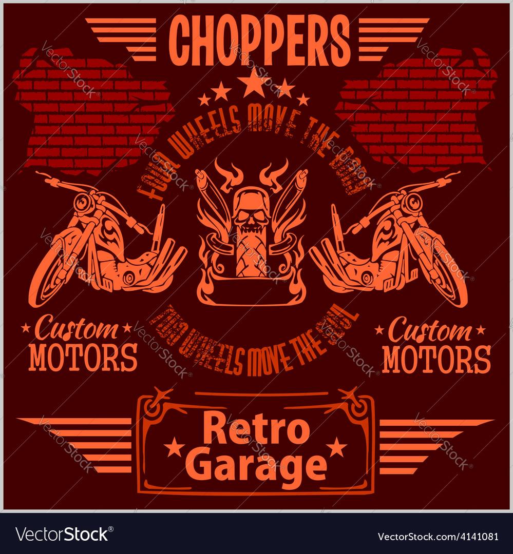 Vintage motorcycle labels badges and design vector