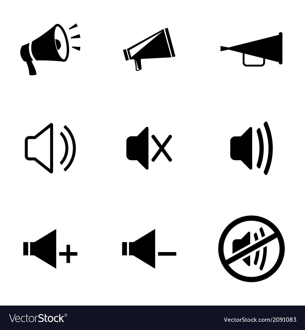 Black speaker icons set vector