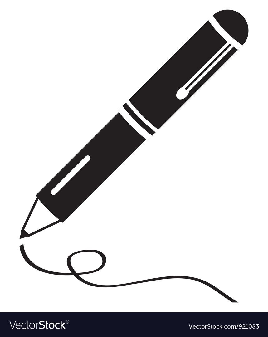 Writing pen clean black icon vector
