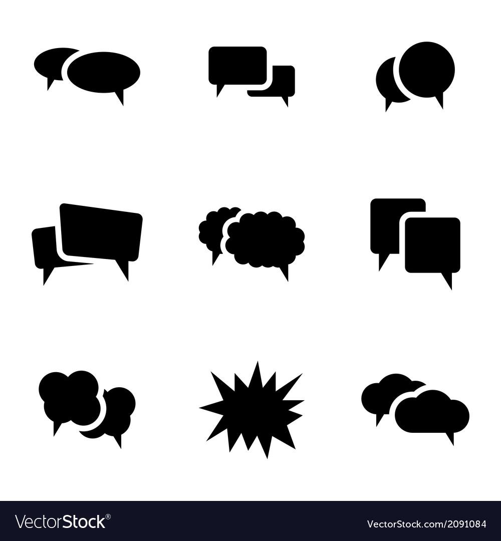 Black speech bubble icons set vector