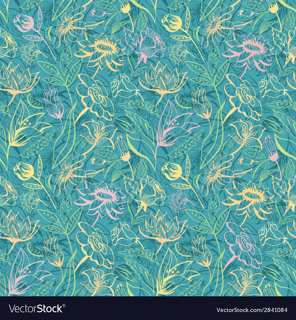 Turquoise floral pattern vector
