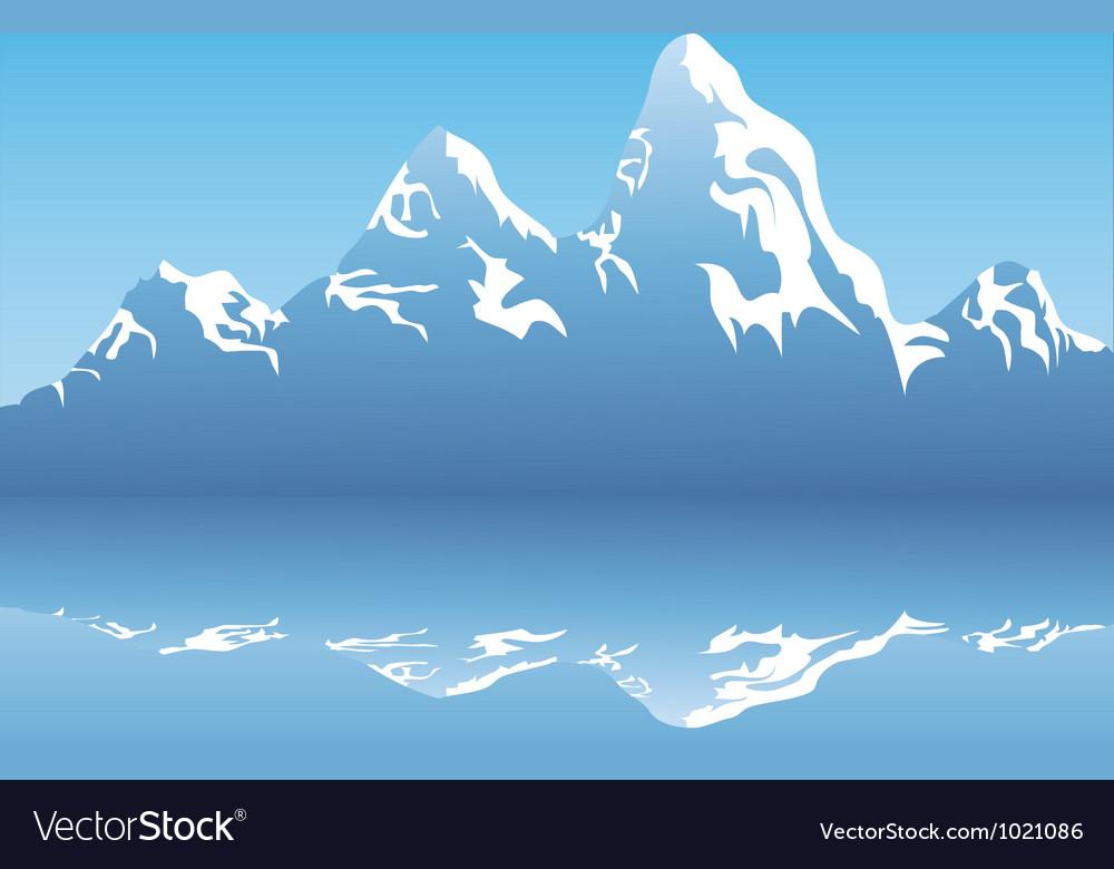 Snow mountain reflection vector