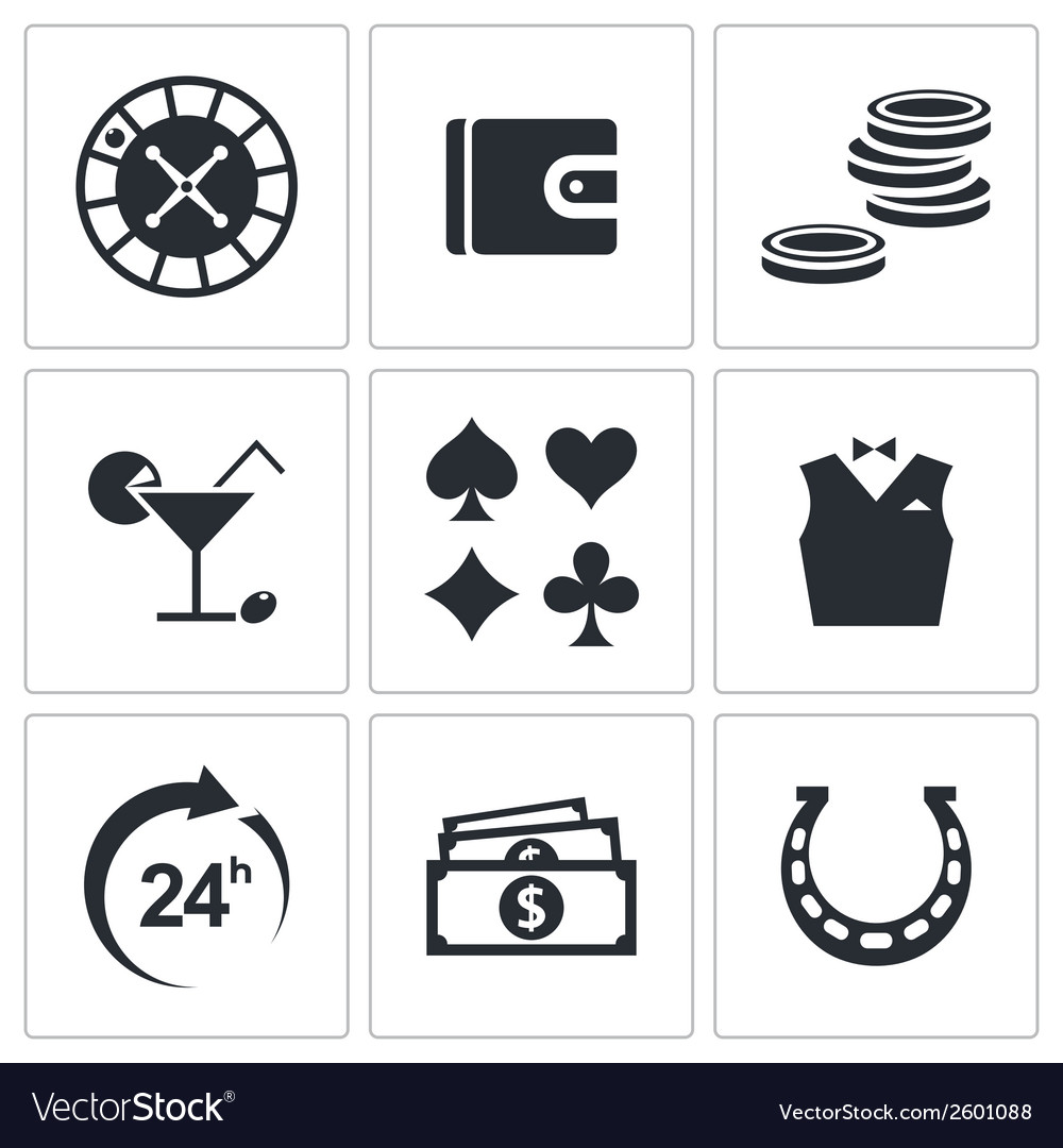 Casino and luck icon collection vector