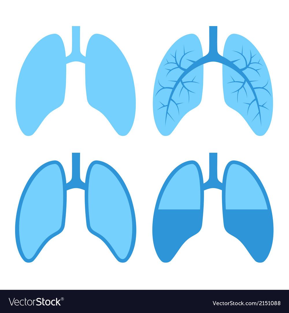 Human lung icons set vector