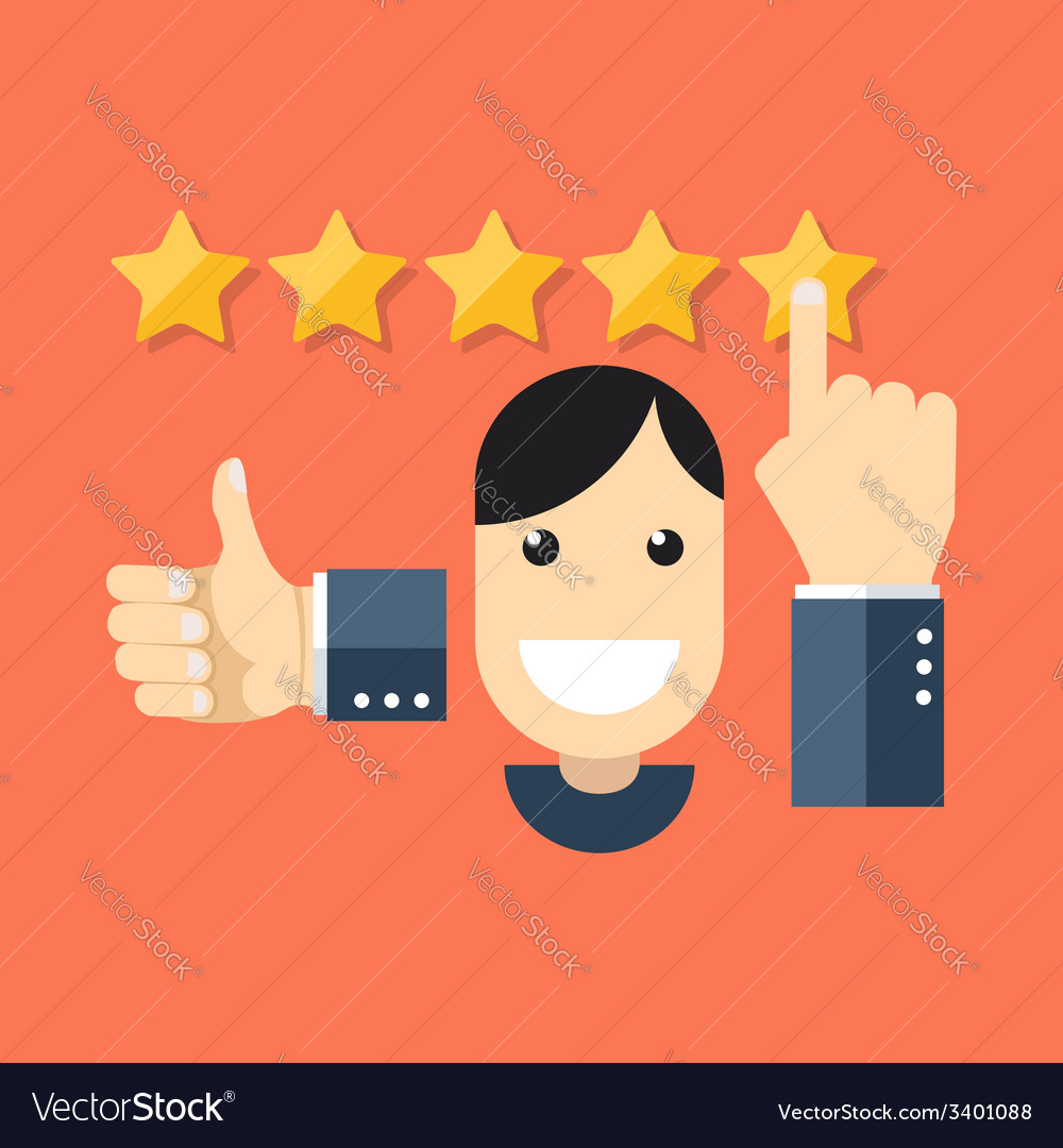 Satisfied customers concept flat design stylish vector