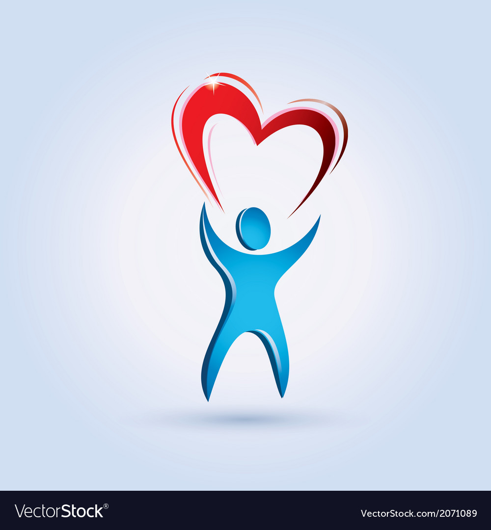 Man and heart vector