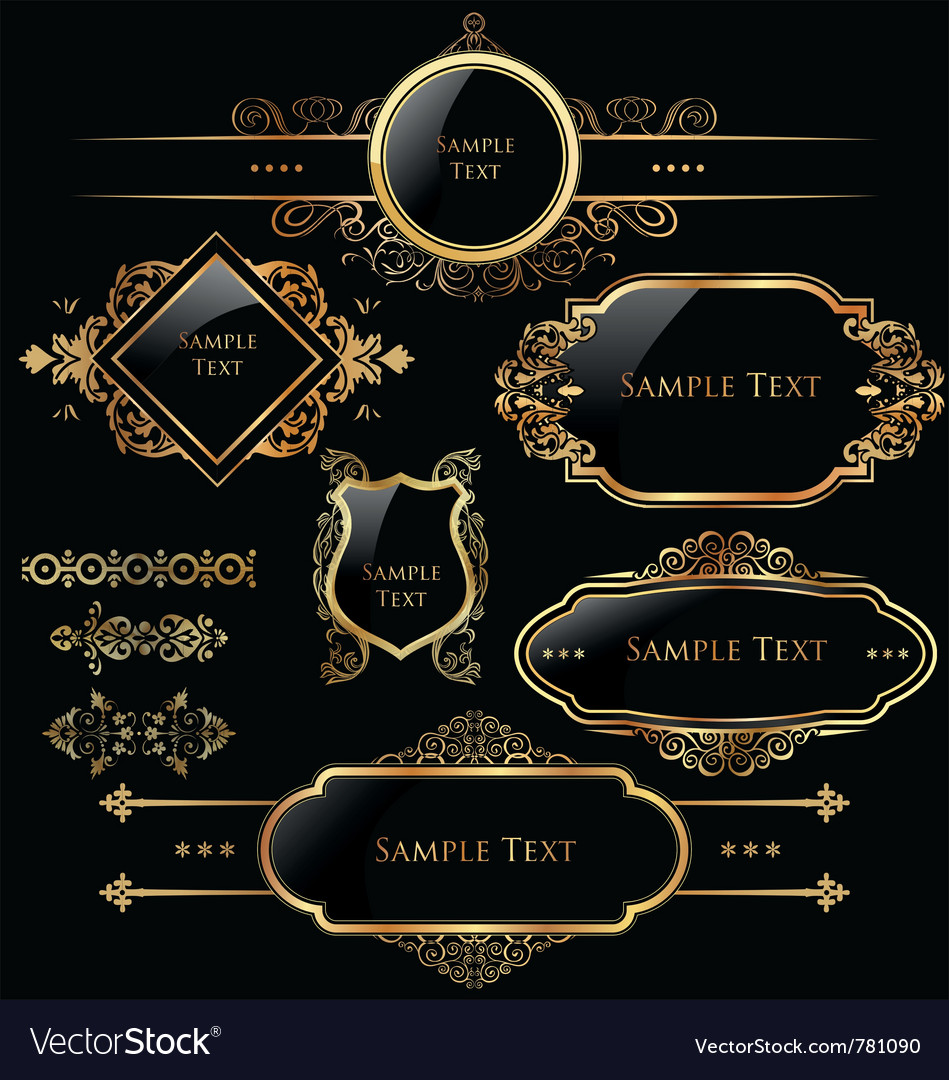Elegant gold and black labels vector