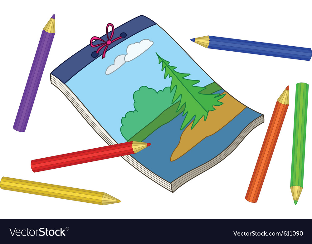 Pencils and notebook vector
