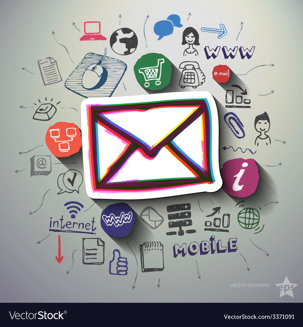 Mobile internet collage with icons background vector