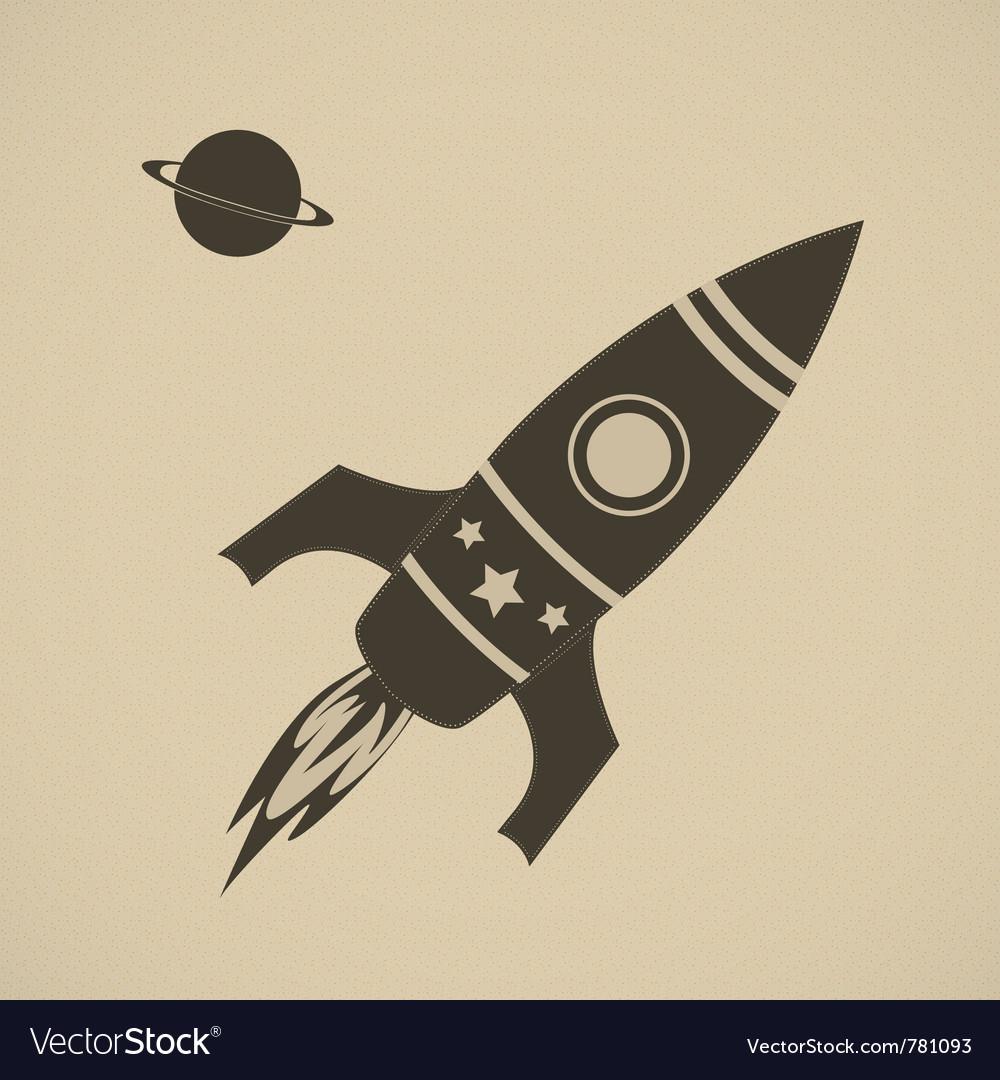 Vintage rocket in space vector