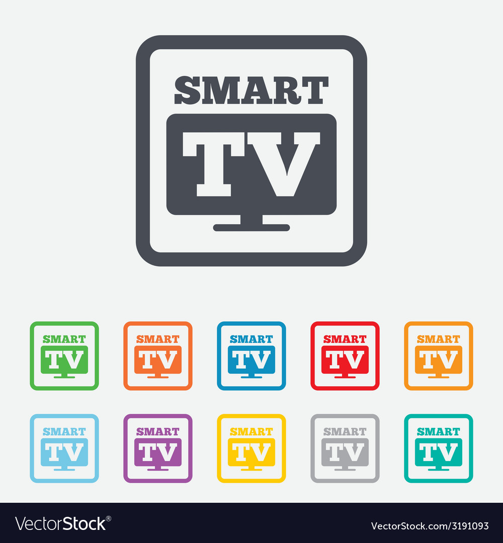 Widescreen smart tv sign icon television set vector