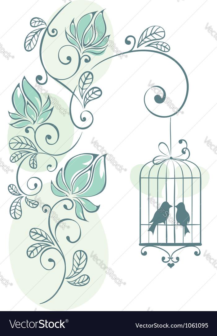 Floral background - love birds vector