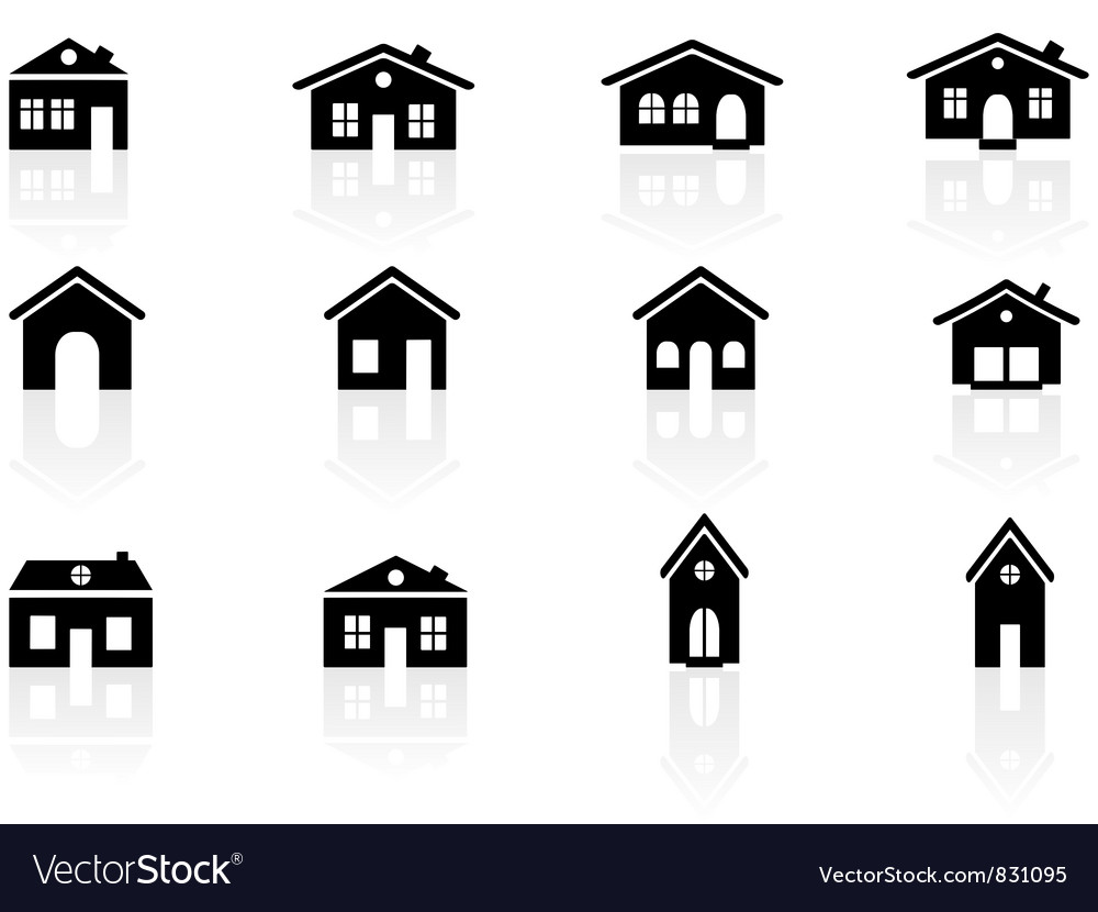 House and buildings icons vector