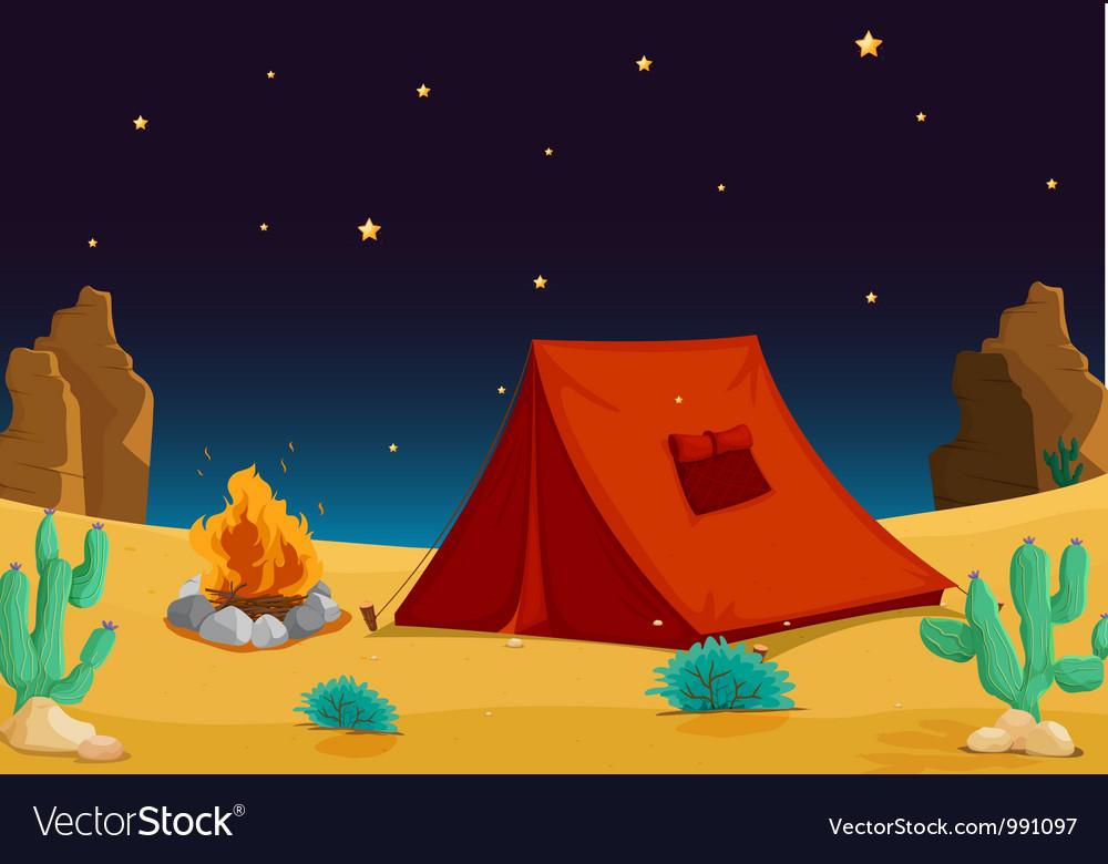 Camp in desert vector