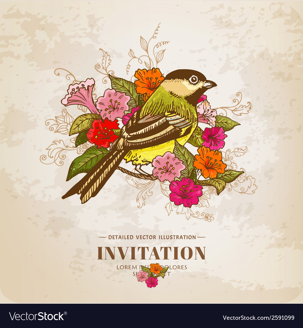 Vintage card - flowers and bird vector