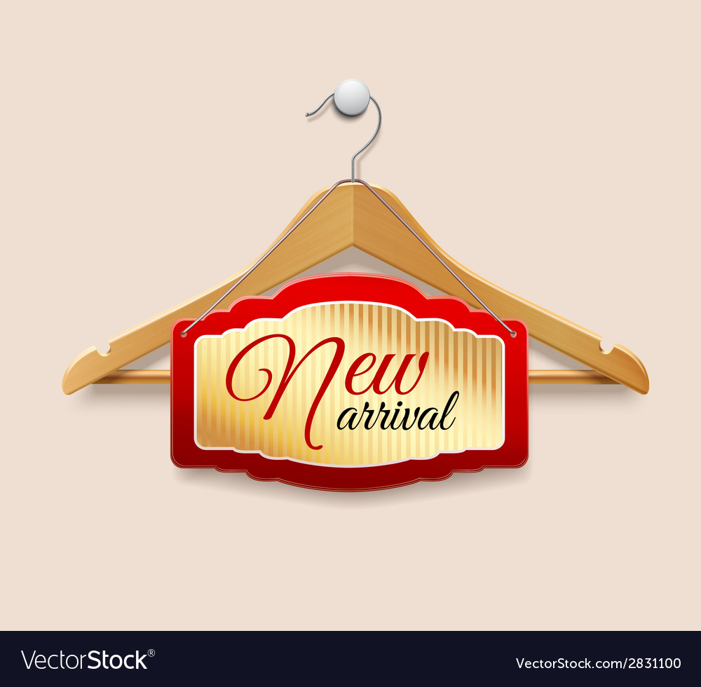 Clothes hanger label new arrival vector