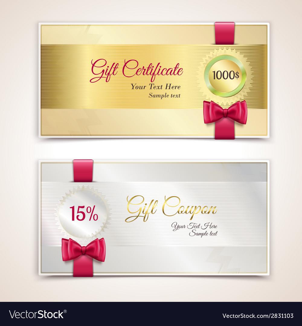 Gift certificates set vector