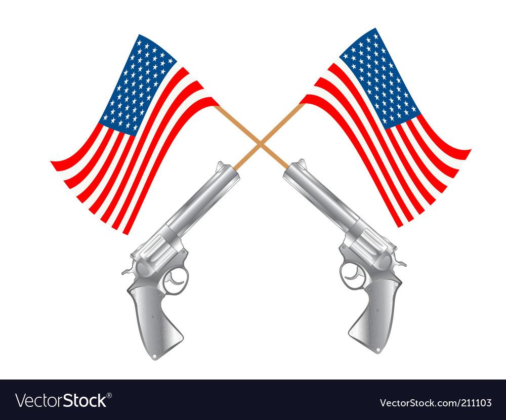 Usa flag and guns vector