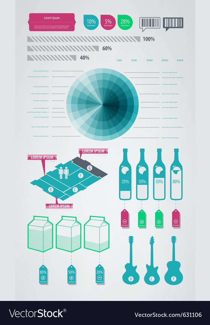 Infographics element icons and symbols vector