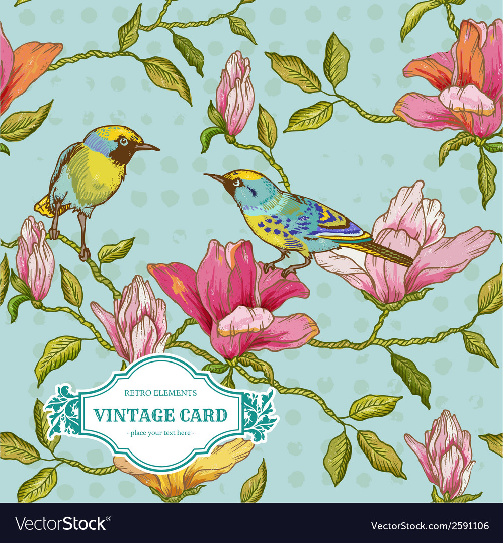 Vintage card - flowers and birds vector