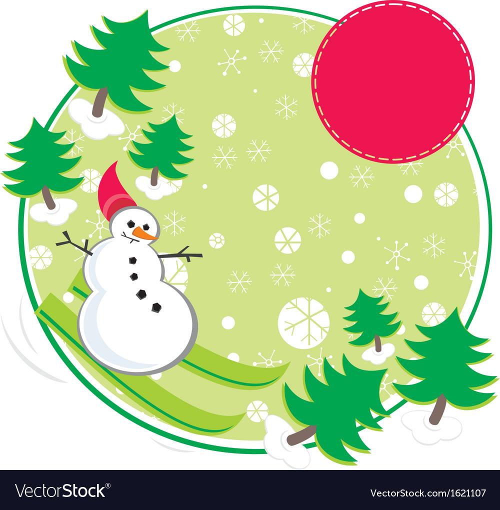 Snowman skiing vector