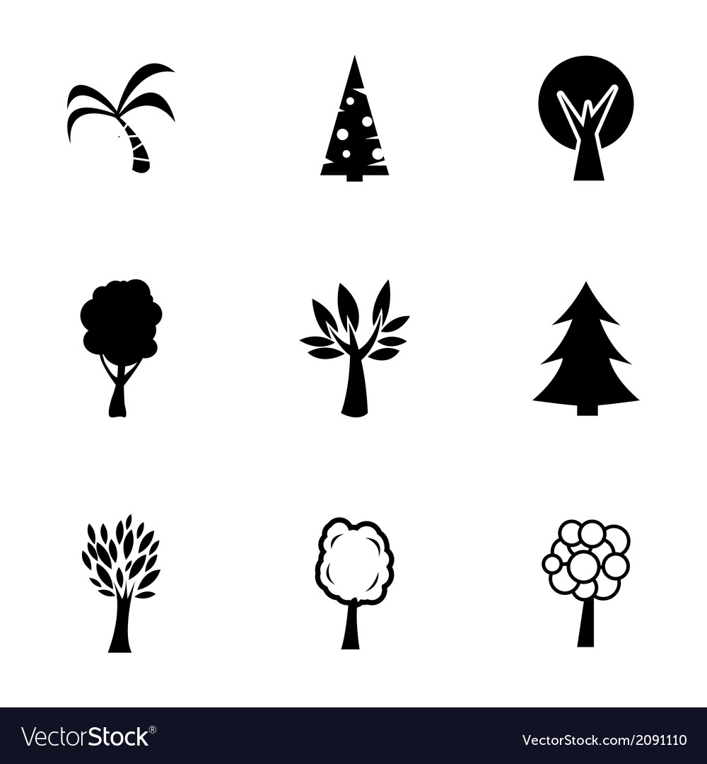Black trees icons set vector