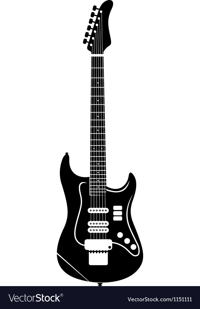 Classic electro guitar silhouette vector