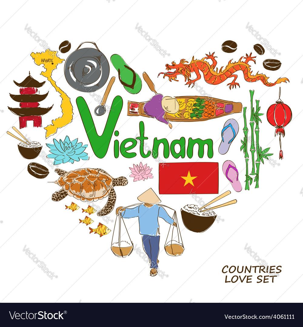 Vietnamese symbols in heart shape concept vector
