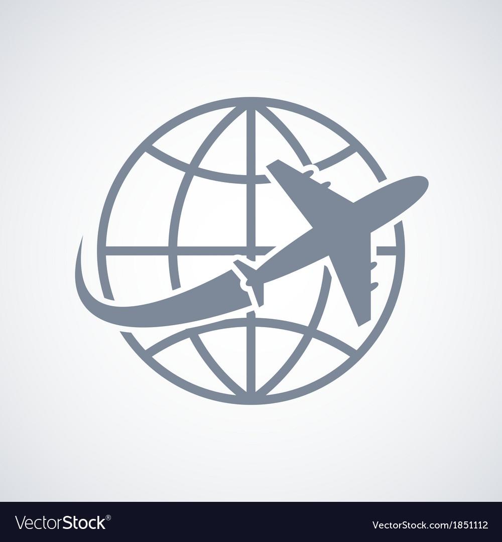Globe and plane travel icon vector