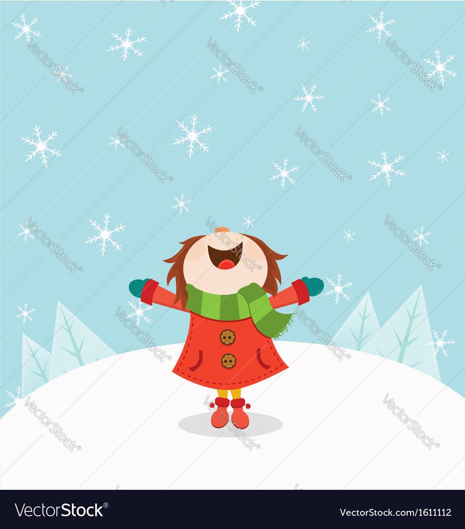 Kid enjoying snow vector
