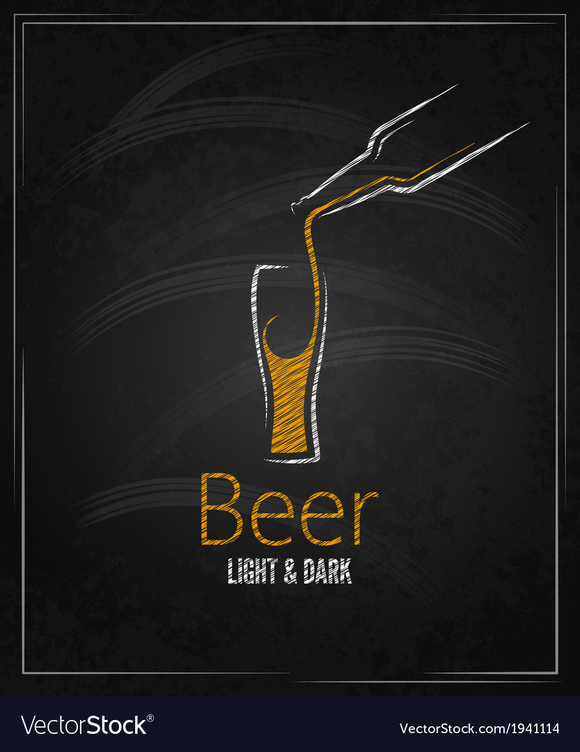 Beer glass chalkboard menu background vector