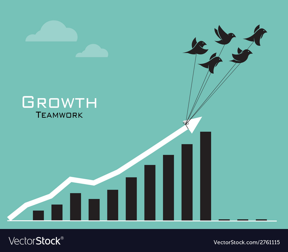Birds and business graph vector