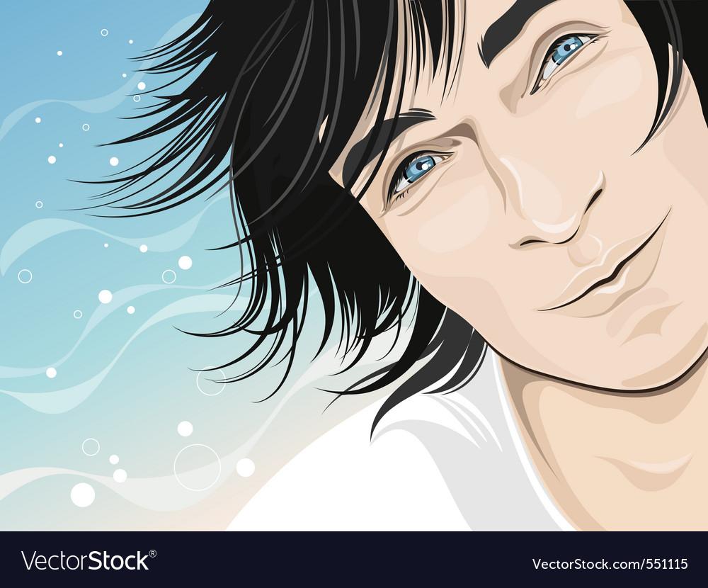 Male model happy face vector