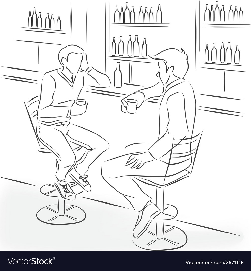 Man in suit sit at bar counter vector