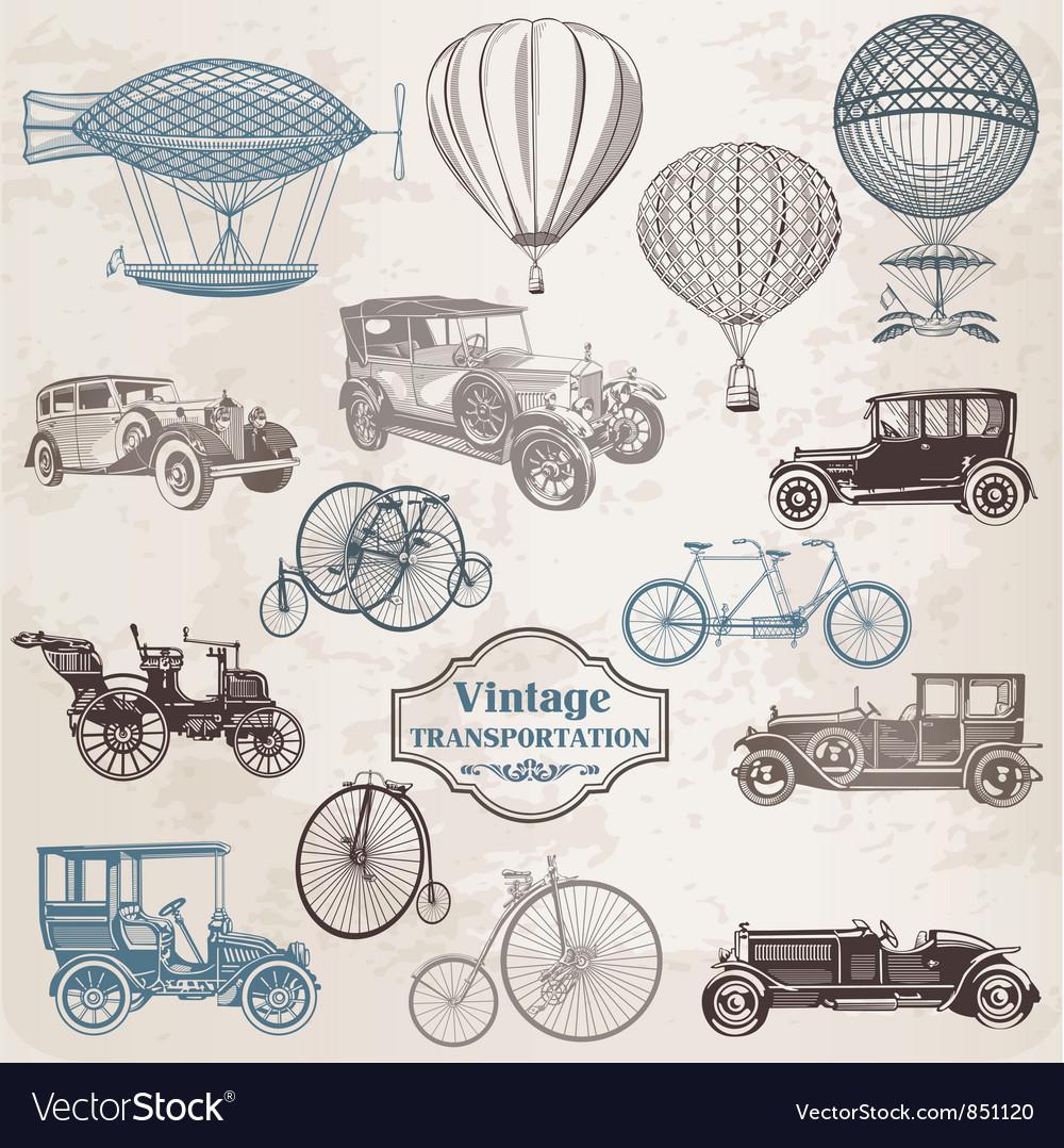 Set vintage transportation vector