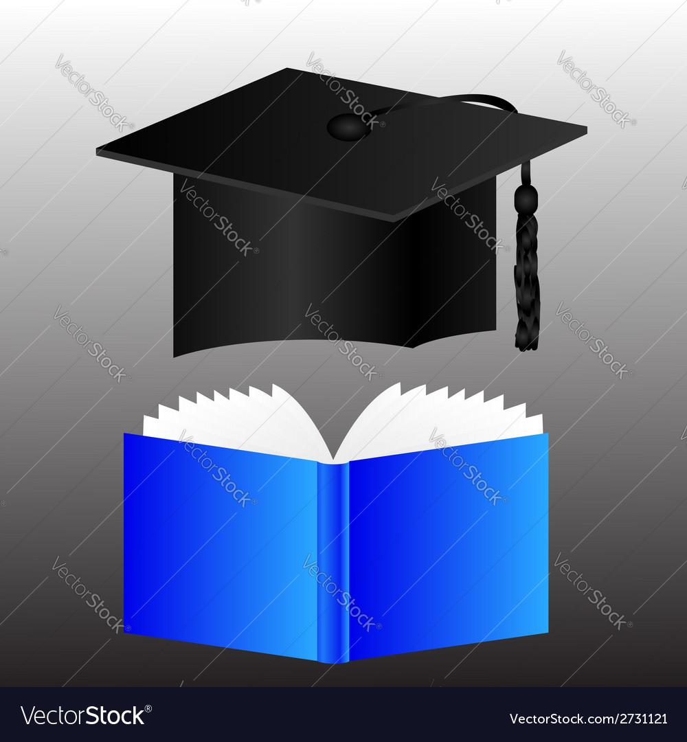 Graduation cap and book vector